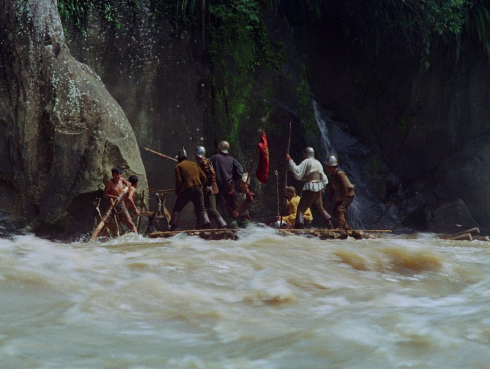 Werner Herzog (1972) Aguirre, the Wrath of God.Film still.  As a child, I remember heading down to the river at the end of the garden with my father. He said that they were making something on the other side of the river and that we should go and have a look. From my memory I can see a cottage with its roof on fire. There are lots of people standing around it watching it burn and for some reason there are lots of big lights, which as a child I thought was the strangest thing as it was the middle of the day. The odd goings-on are in fact a film being made in Ardmore Studios which was on the other side of the river. I think it was a low budget Hammer House, some early 70s rip-off of the Frankenstein story (I was told this much later). Ever since then, I have always had a strong pull to go and see what was on the other side of the river.  Films, books and a song about rivers Deliverance, 1972, directed by John Boorman. Aguirre, the Wrath of God, 1972, directed by Werner Herzog. Huckleberry Finn and his friends. 1979, Canadian and West German TV series. River's Edge, 1987, directed by Tim Hunter. Deadman, 1995,directed by Jim Jarmusch. To the Waters and the Wild, 1974-94, filmed, written and produced by Gerrit van Gelderen, RTÉ series. Heart of Darkness, 1899, Joseph Conrad. Wind in the Willows, 1908, Kenneth Grahame. Waterlogged, 1999, Roger Deakin. Fairport Convention's cover of Ballad of Easy Rider,an out-take on Unhalfbricking, 1969.  * * * Primeris a new series of reference lists compiled by artists at the invitation of the Douglas Hyde Gallery on the occasion of their exhibitions. We would like to thank Brendan Earley for his generous contribution.