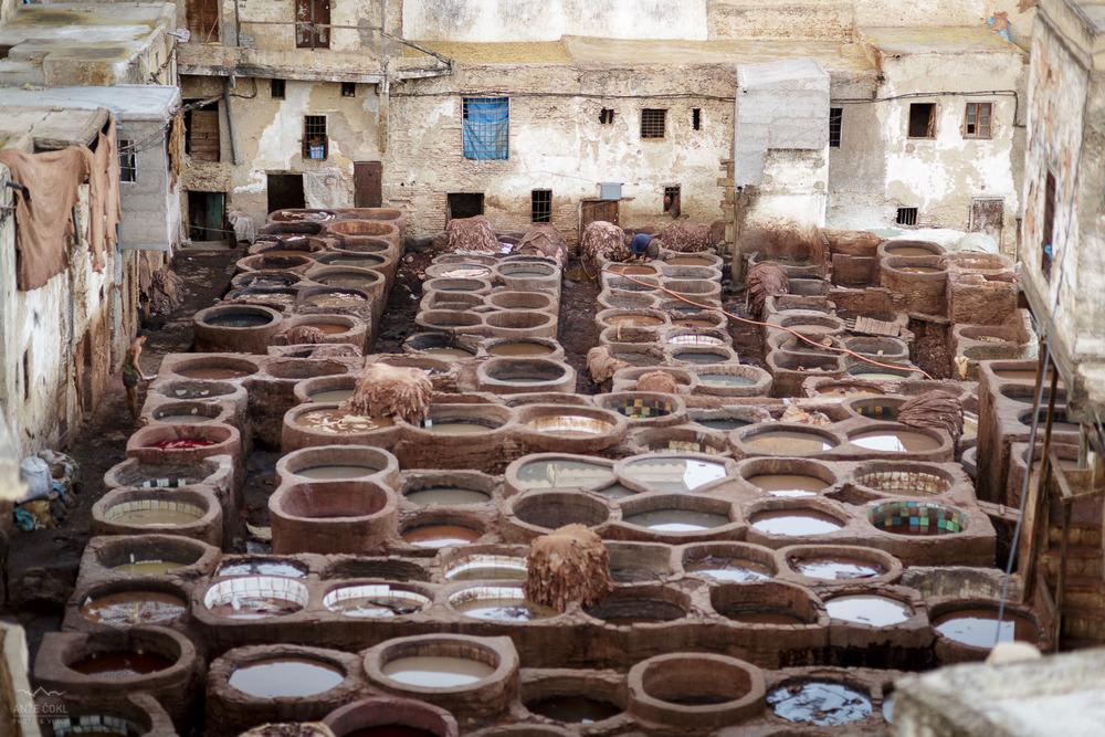 V oblačnem vremenu so kotli za barvanje usnjenih kož dolgočasni, ob sončnem vremenu pa je to mesto eno najpogosteje fotografiranih v mestu Fez in Maroku nasploh!