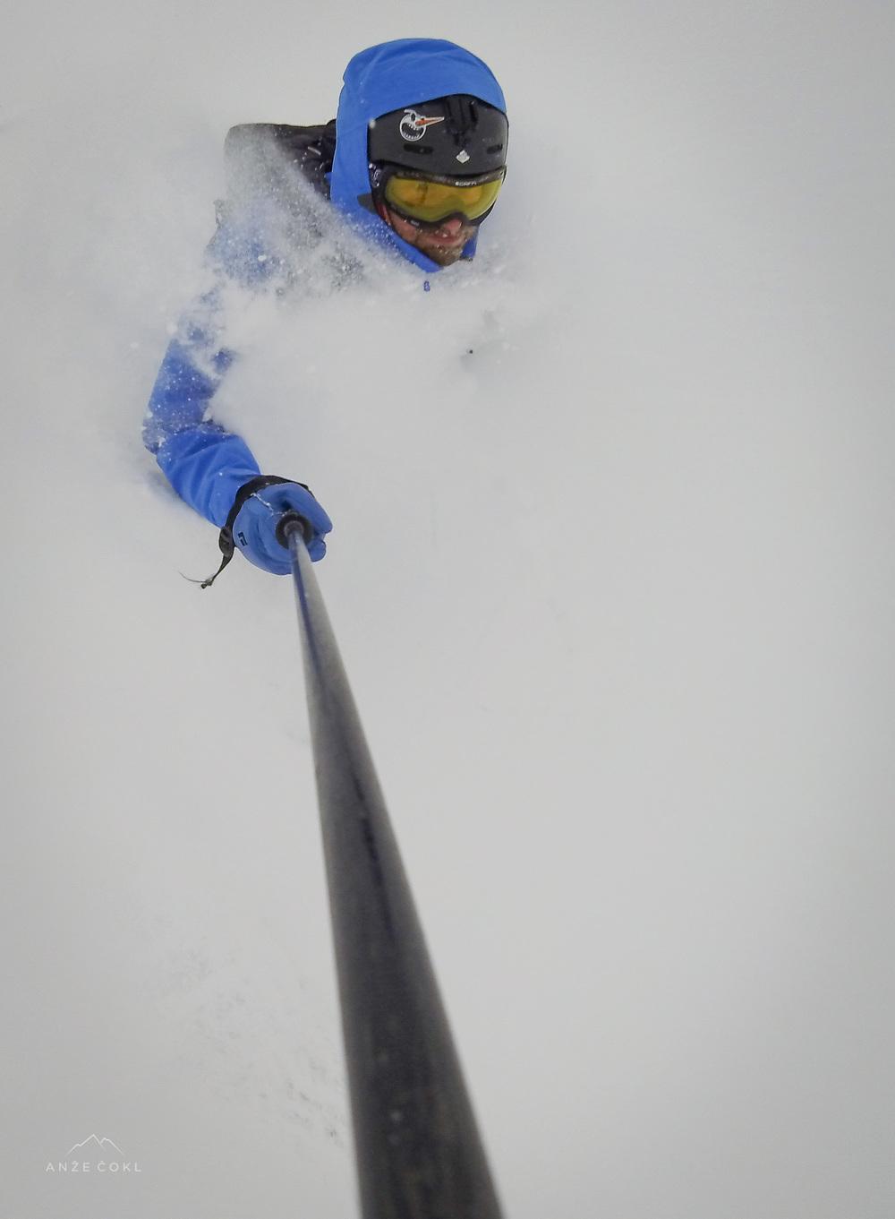 Scuba diving v Chamonixu prvi dan po prihodu super-snežne-nevihte Mischke.