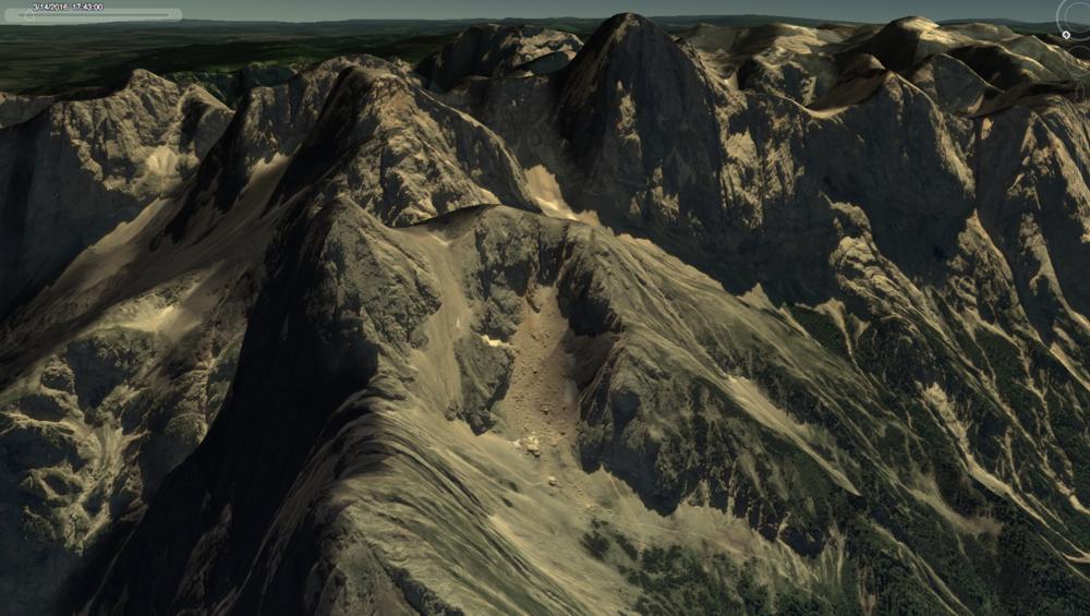 Študiranje poti sonca ob zahodu na Google Earth.