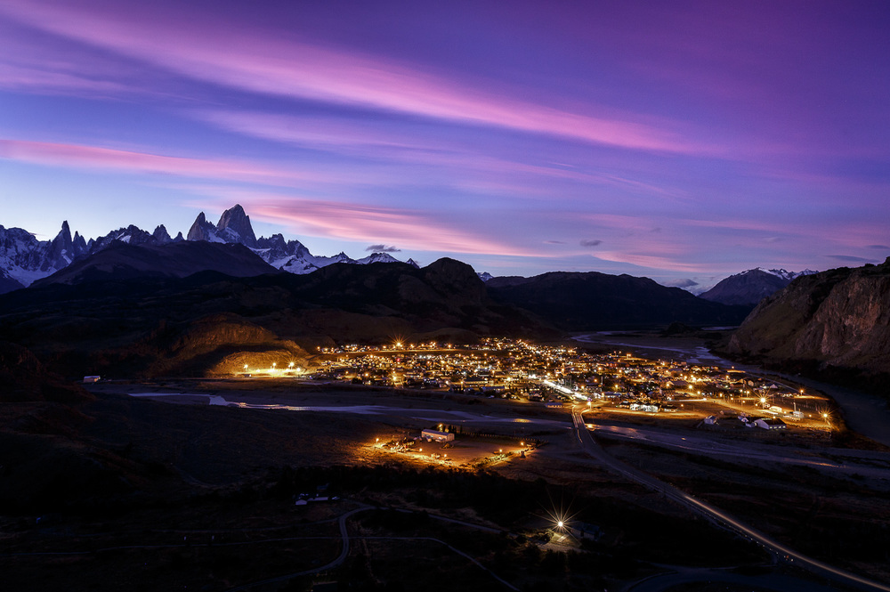 Nightscape of the ever growing town of El Chaltén