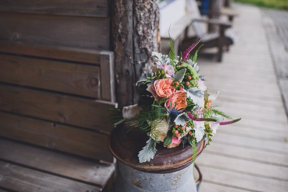 Natural flowers at Fforest wedding