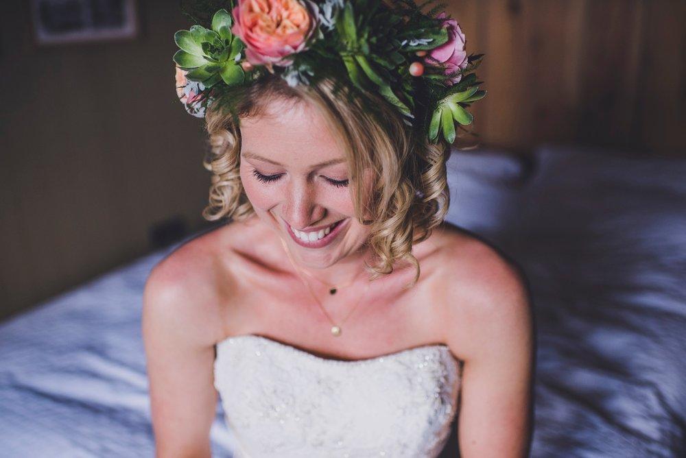 Beautiful succulent headpiece Fforest wedding