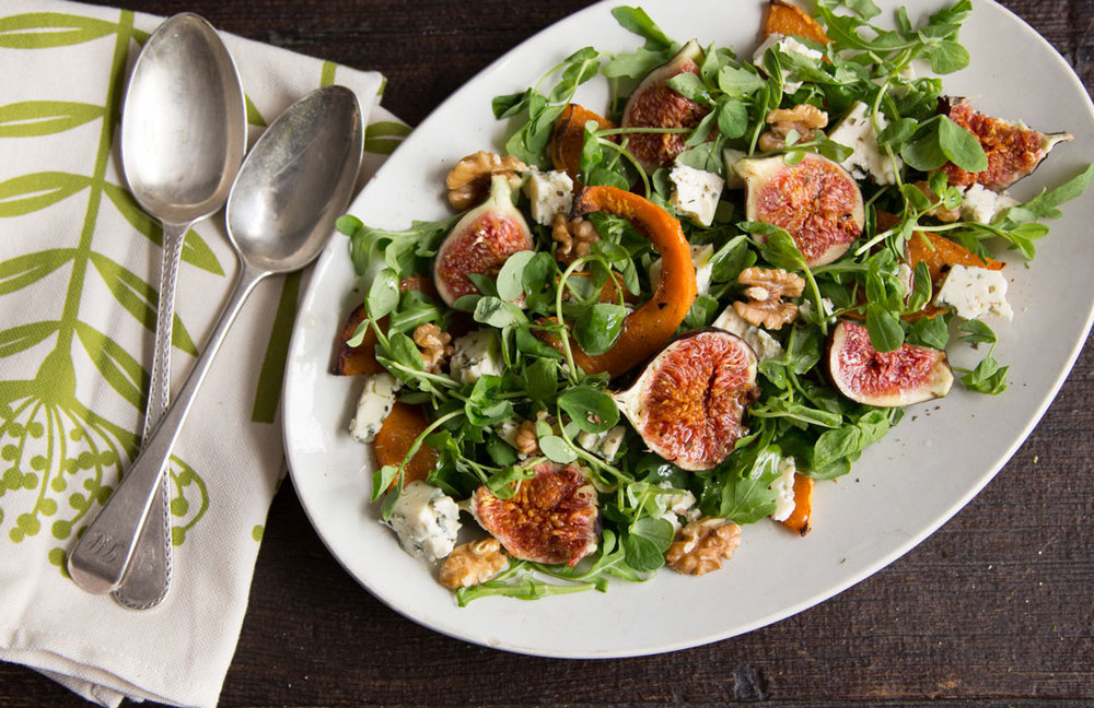 Fig and blue cheese butternut salad with walnuts