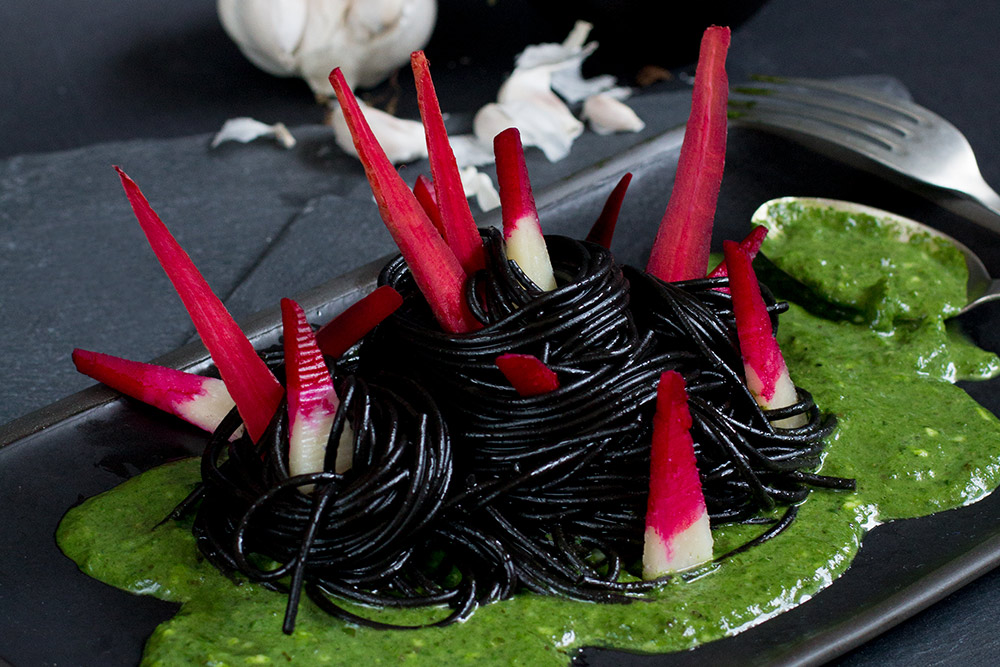 Tokoloshe Halloween scary bloodied carrots teeth and green sauce