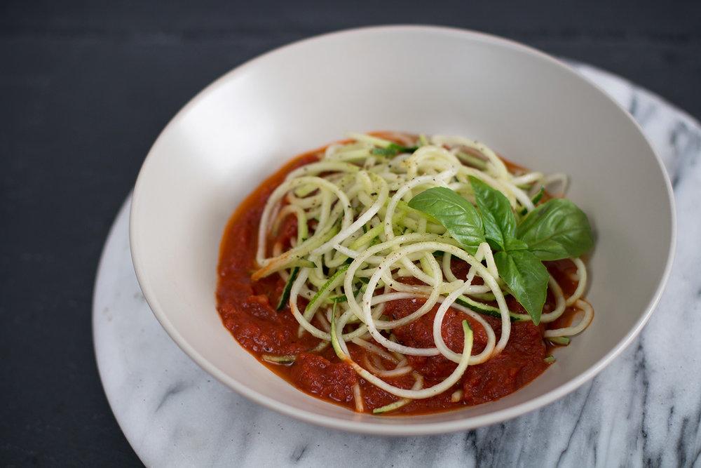 Umami Napoletana tomato sauce with courgetti pasta