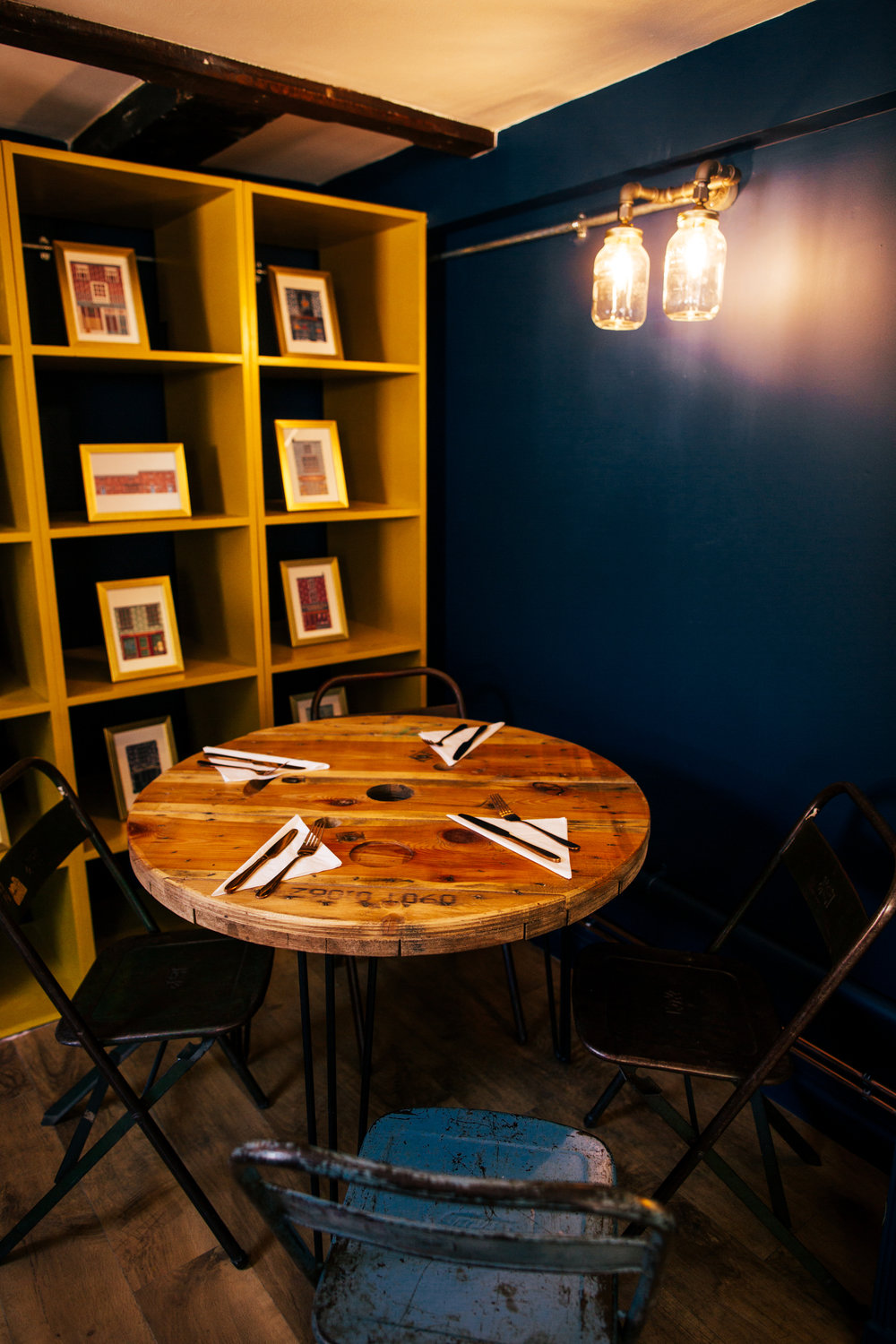 Industrial seating - We love this large table made from a reclaimed cable reel.