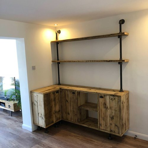 Reclaimed Wood And Steel Home Bar Unit Outhouse