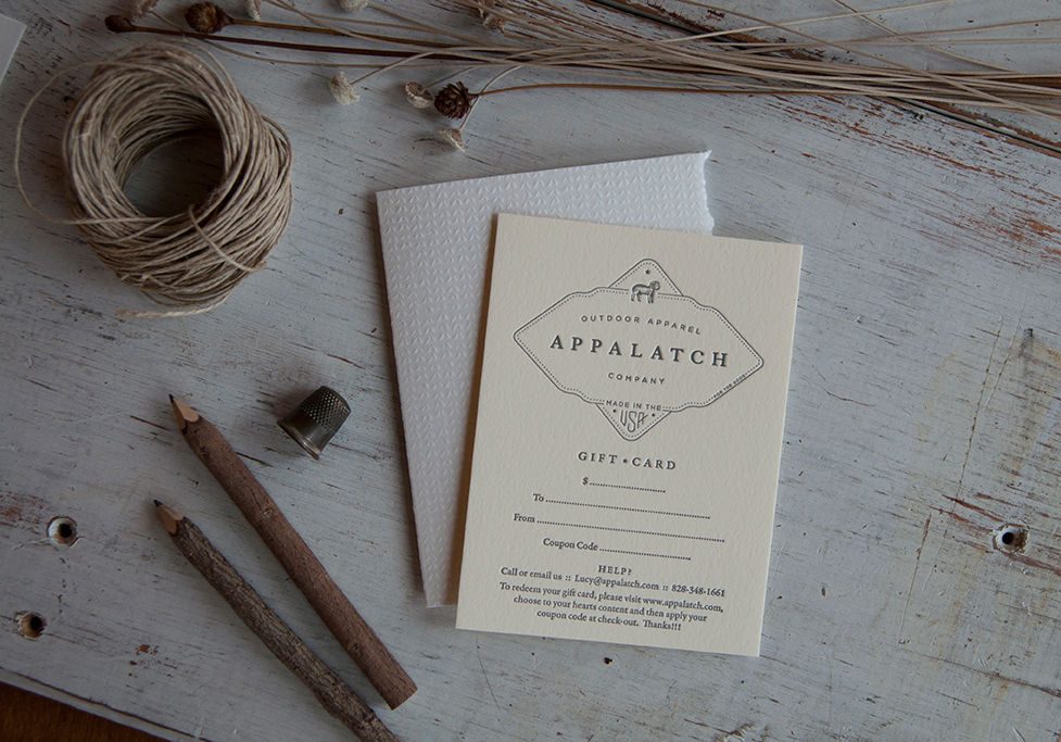 Appalatch Letterpress Gift Card