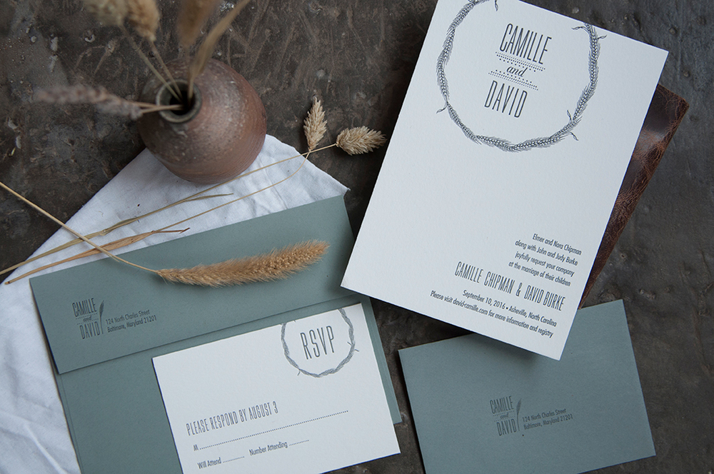 Harvest Letterpress Wedding Invitation