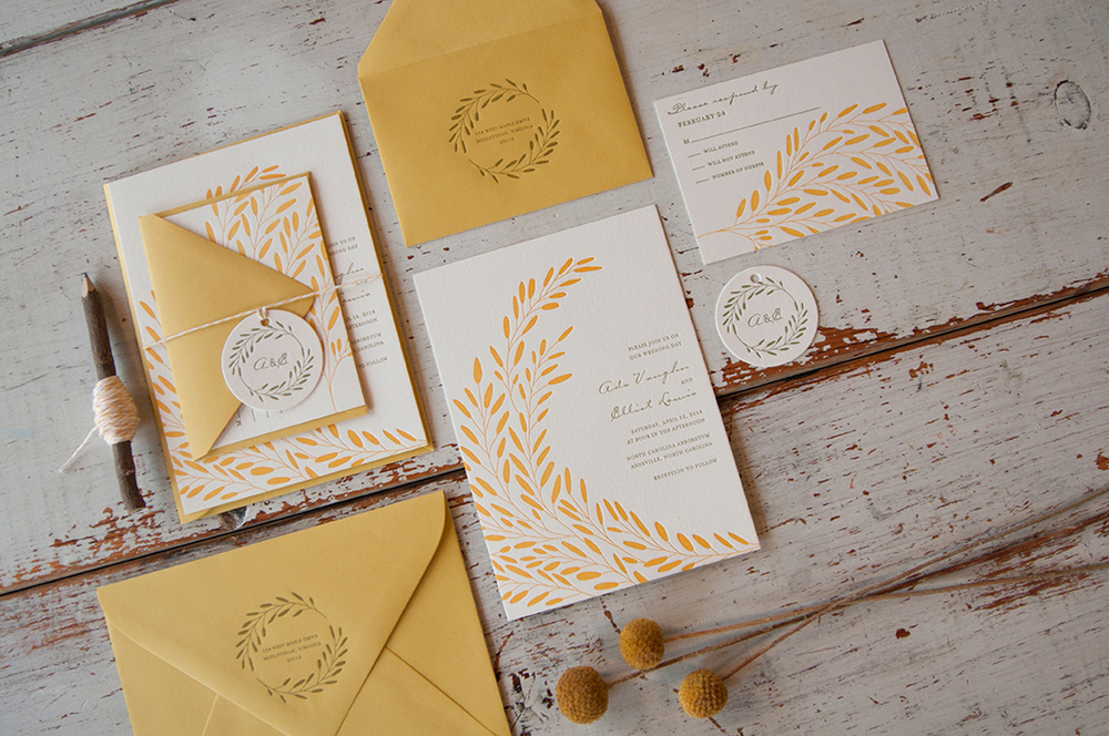 Entwined Letterpress Wedding Invitation