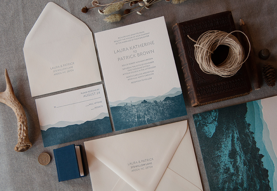 Blue Ridge Letterpress Wedding Invitation