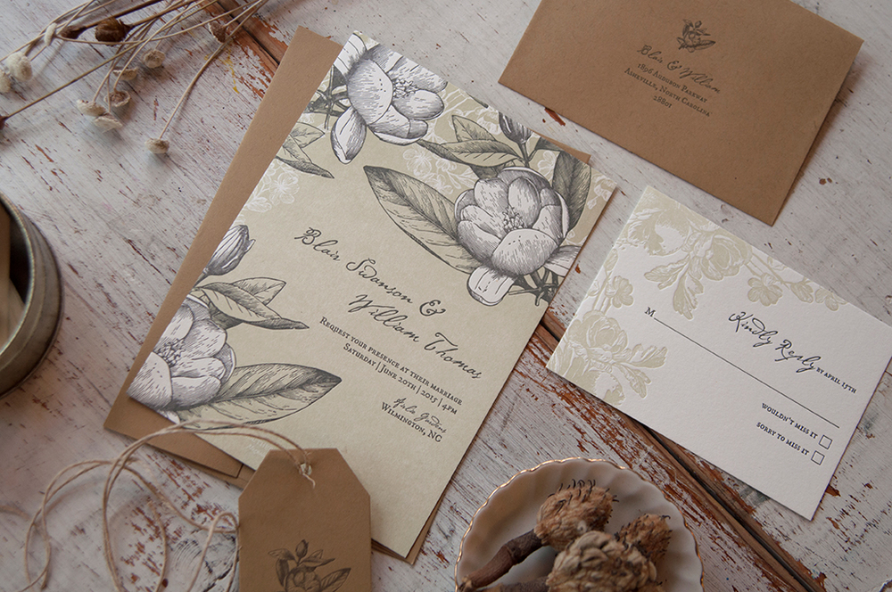 Southern Magnolia Letterpress Wedding Invitation