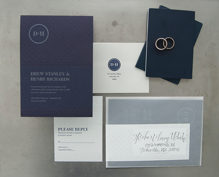 Blue on Blue Wedding Invitation