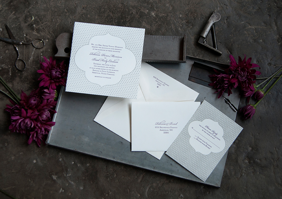 Basilica Letterpress Wedding Invitation