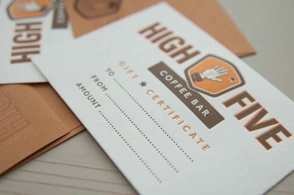 High Five Letterpress Gift Certificate