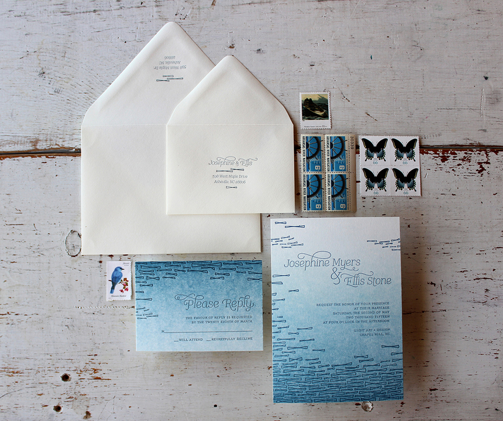 Cerulean Letterpress Wedding Invitation