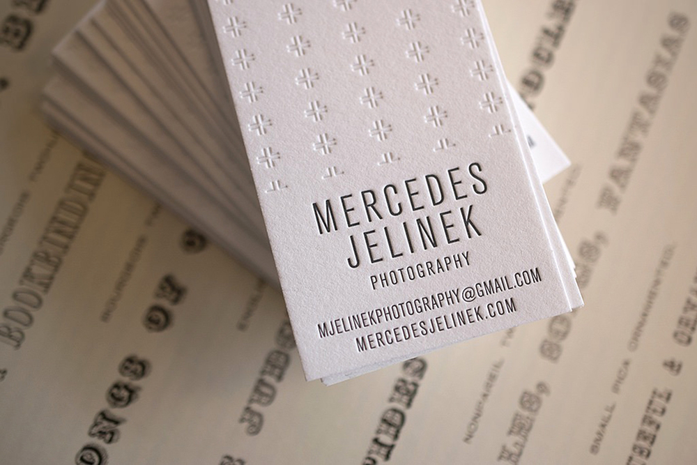 Business cards forMercedes Jelinek,printed and delivered to one of our favorite photographers who is currently a resident at the Penland School of Crafts. Two colors on Crane's FluorescentLettra.