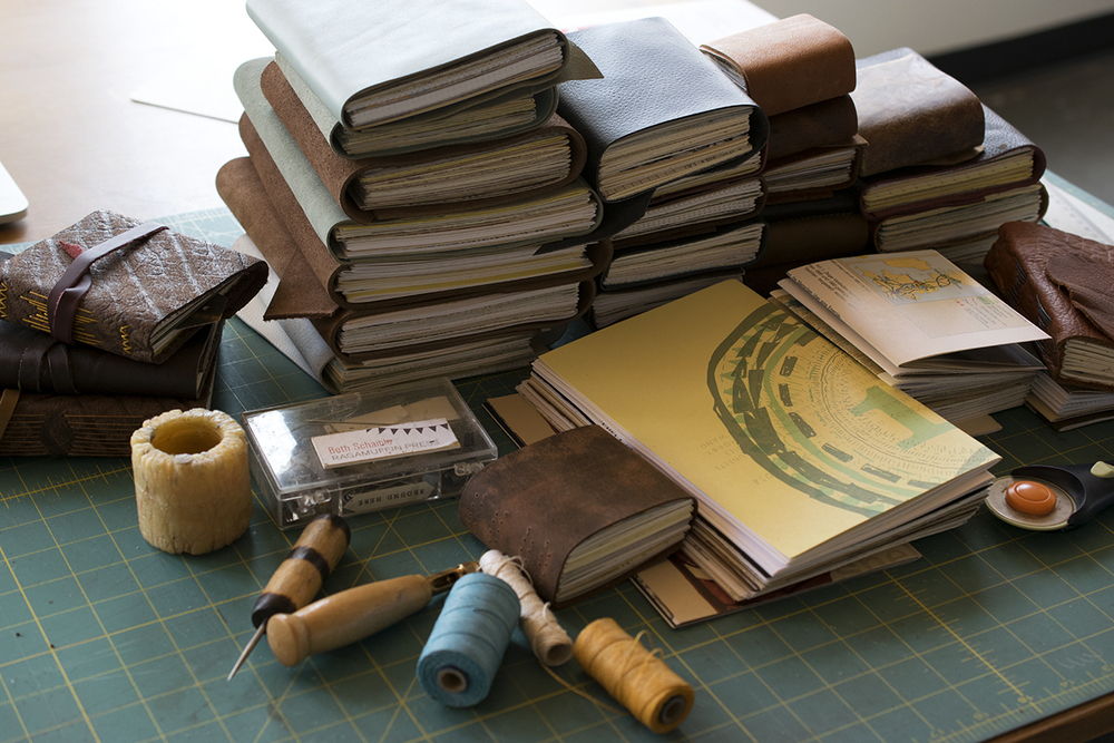 Leather journals in the works this week. Sewn by hand with dozens of different longstitch variations.