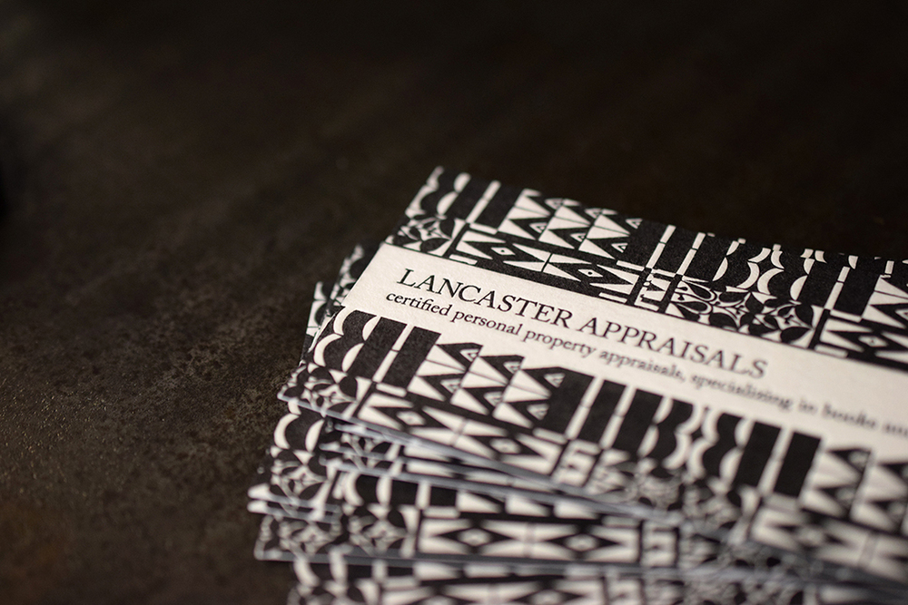 Business cards forLancaster Appraisalsprinted both sides in black ink on Neenah Wild White Cover.