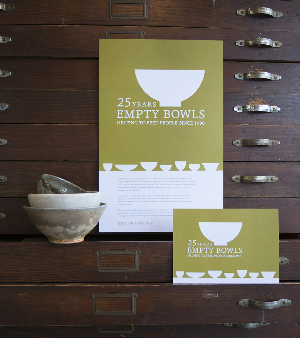We designed a 25th anniversary logo and accompanying postcard,poster and banner for Empty Bowls who celebrated their silver year with a retrospective exhibit in Providence, RI last weekend. Empty Bowls is an organization that has been helping to feed people in need since 1990.