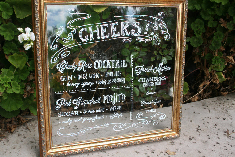 Create a bar or dinner menu so guests know their options. Source: One Wed