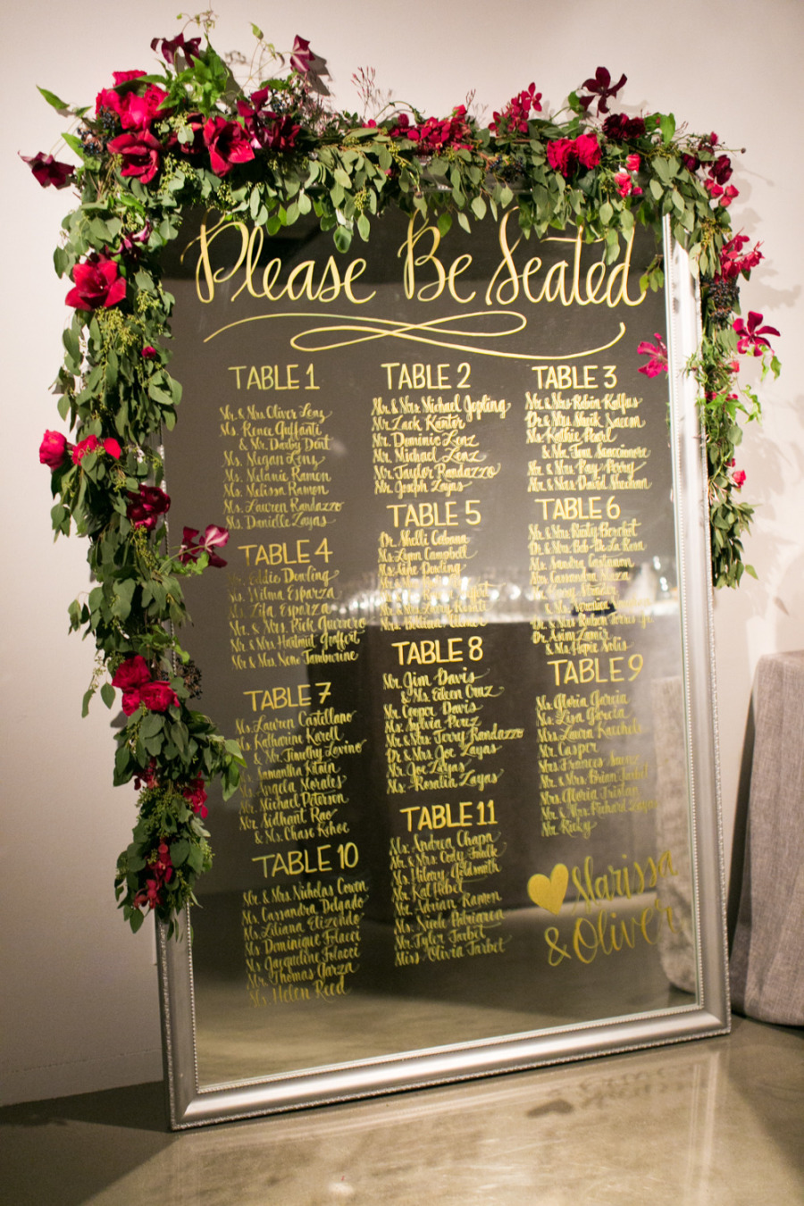Let your guests know where to go for dinner with a simple seating chart. The garland certainly adds a nice touch! Source: Style Me Pretty