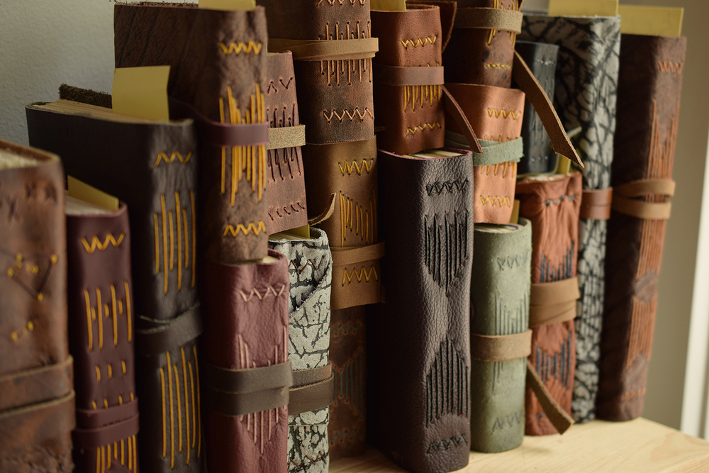 New handmade leather journals have found their way to our online shop, ready for your words and drawings. Also available in our Asheville studio.
