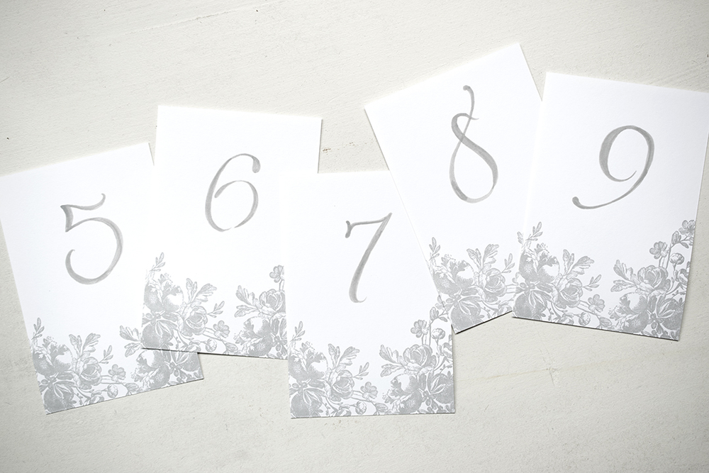 7 ton co. - calligraphy table numbers