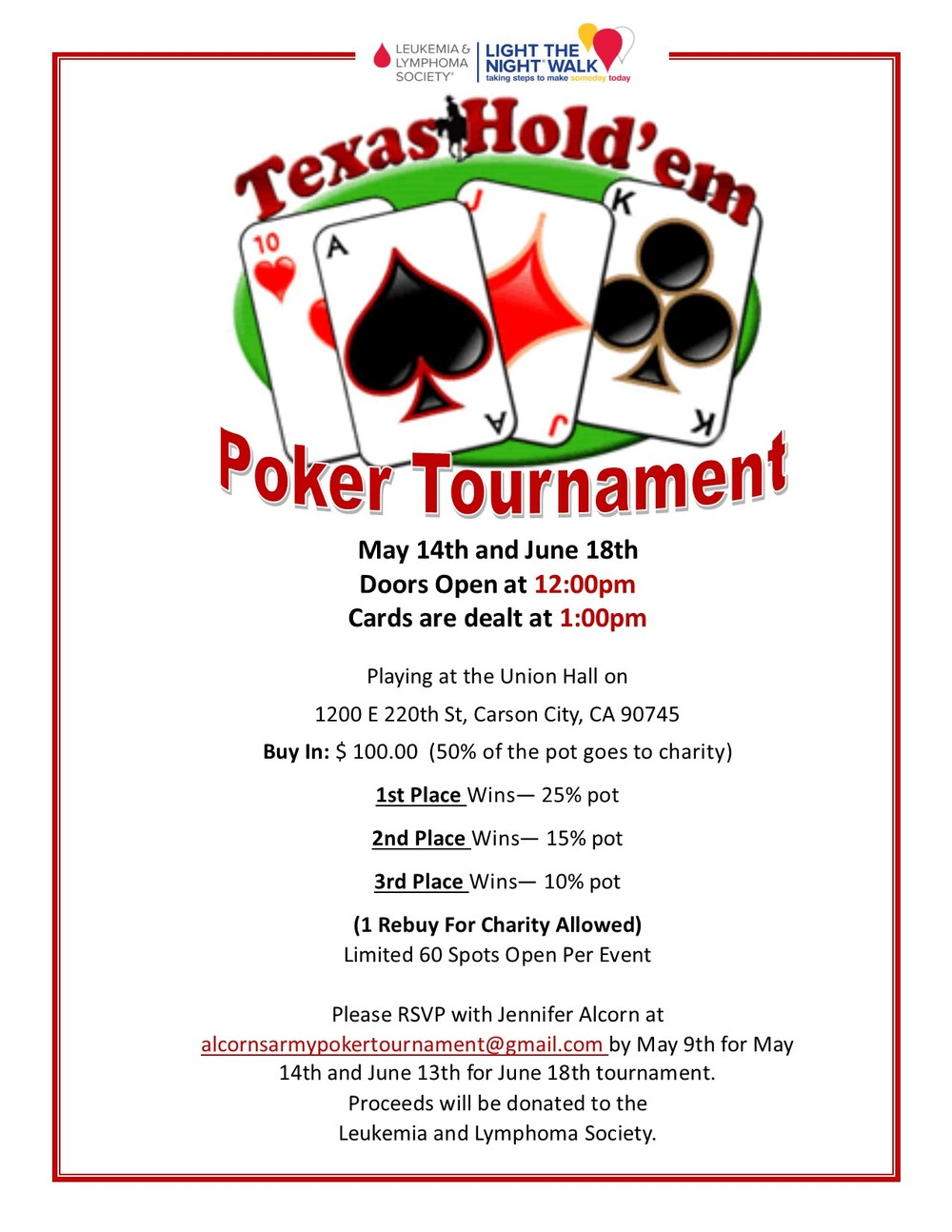 Sisters and brothers we will be having a Poker Tournament/Fundraiser on May 14th and June 18th. We will be holding it at our Carson Hall located @ 1200 E. 220th St. Carson, CA. 90745. There is a $100.00 Buy in. 1st Place wins- 25% of pot 2nd Place wins- 15% of pot 3rd Place wins- 10% of pot You can RSVP with Jennifer Alcorn at alcornsarmypokertournament@gmail.com by May 9th for May 14th and June 13th for June 18th Tournament.