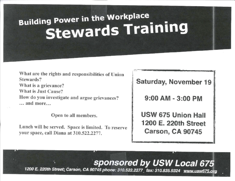 We will be having a Stewards Training this Saturday, November 19th from 9:00AM - 3:00PM. It will take place at the Carson Hall, 1200 E. 220th St. Carson, CA. 90745 To reserve your place, please call Diana at 310-522-2277