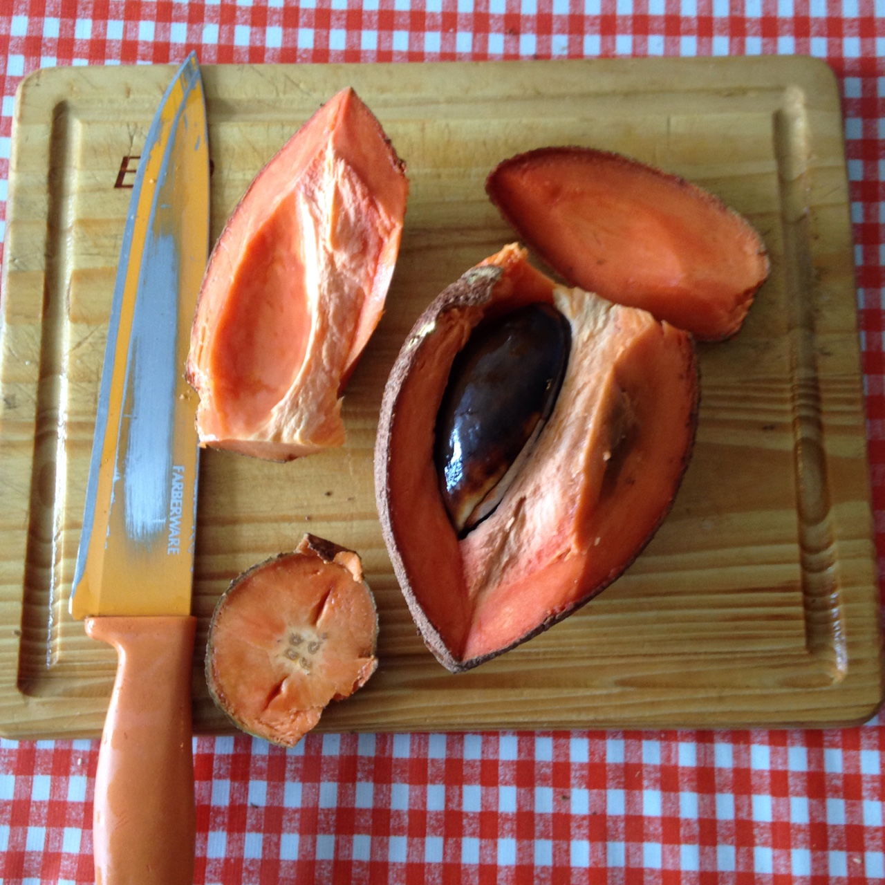 Mamey sapote (ma-MAY zap-OTAY) from the Mercado Coyoacan. It has soft, creamy flesh like a papaya, and a delicate, sweet flavour.