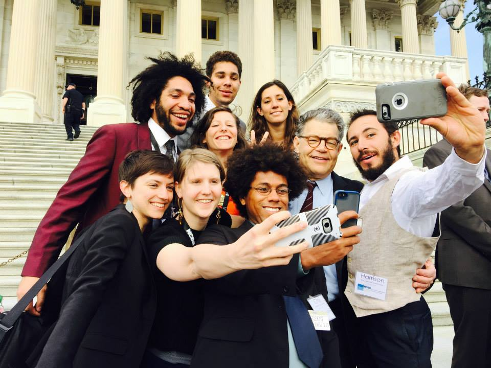 Members of the USA Cooperative Youth Council meet with Sen. Al Franken as part of Co-op Week 2015.