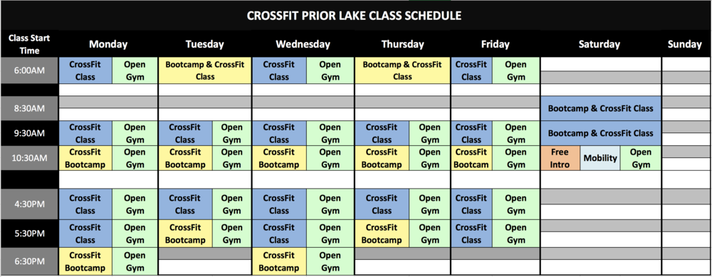 *Note: Tuesday/Thursday 6:00AM is a hybrid CrossFit & Bootcamp class.  **Open gym is offered during all weekday classes but regular classes always take priority for space & equipment. Please be mindful of those coaches and members while attending open gym.