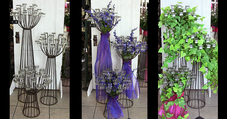 wrought iron votive candelabras examples 1 - Wedding Decor Rentals