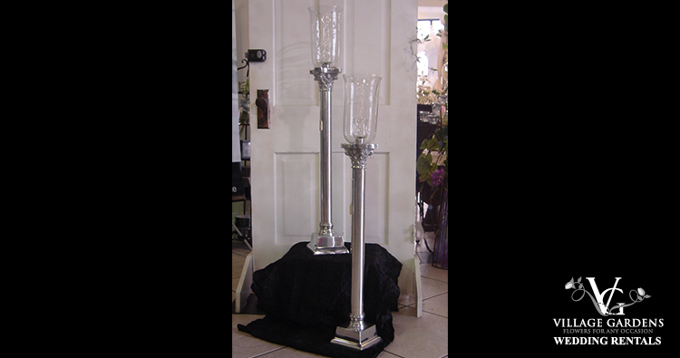 Tall Silver Candle Holder w/Hurricane