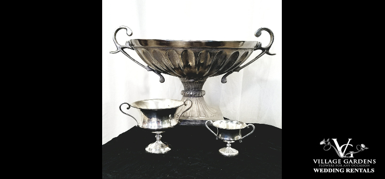 Ornate Silver Footed Bowl w/Handles