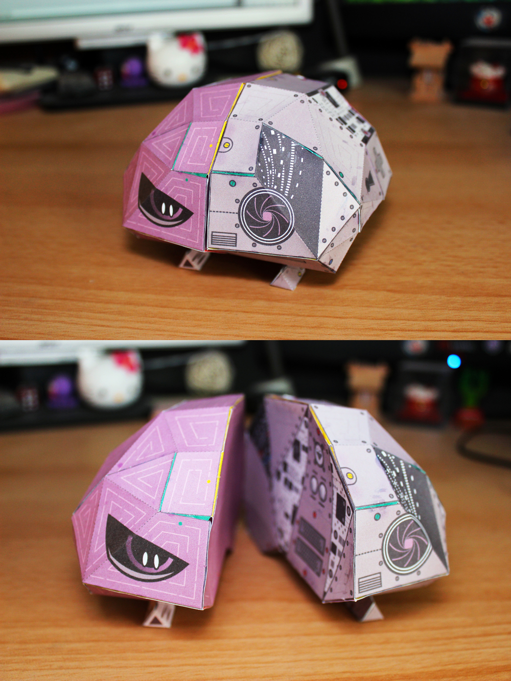 Project: Terminator Cerebrum.  Disciplines: 3D / Illustration / Paper Toy.   Highly dangerous. Slightly Adorable.