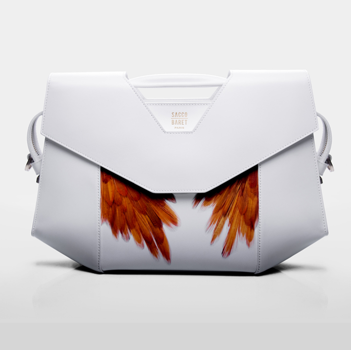 VENDÔME Lady amherst plumes & smooth white calfskin leather SHOP NOW