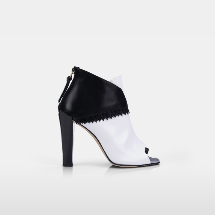 ABBESSES Goose plumes, white & black calfskin leather