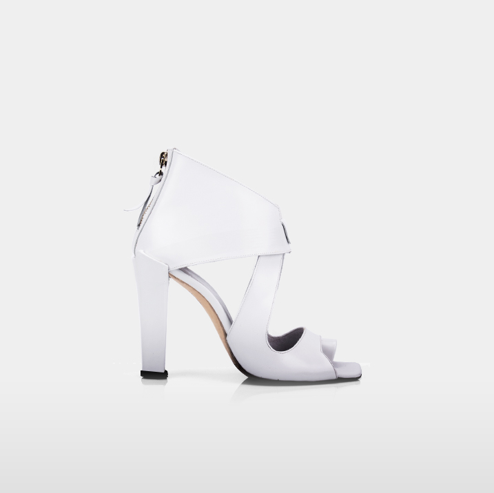 LUXOR White calfskin leather