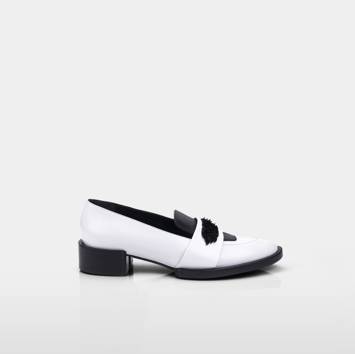 TROCADERO Goose plumes, white & black calfskin leather
