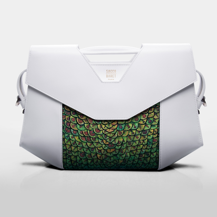 VENDÔME  Peacock plumes & smooth white calfskin leather SHOP NOW