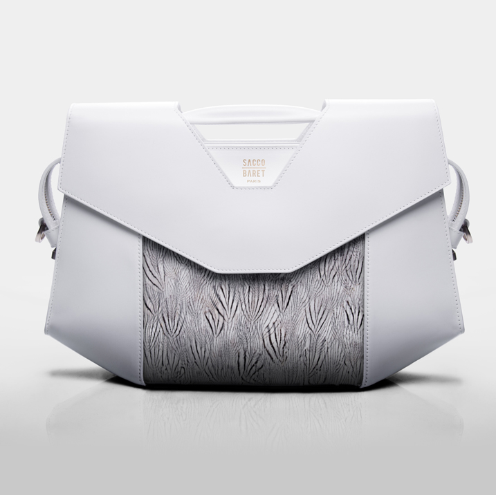 VENDÔME    Silver pheasant plumes & smooth white calfskin leather    SHOP NOW