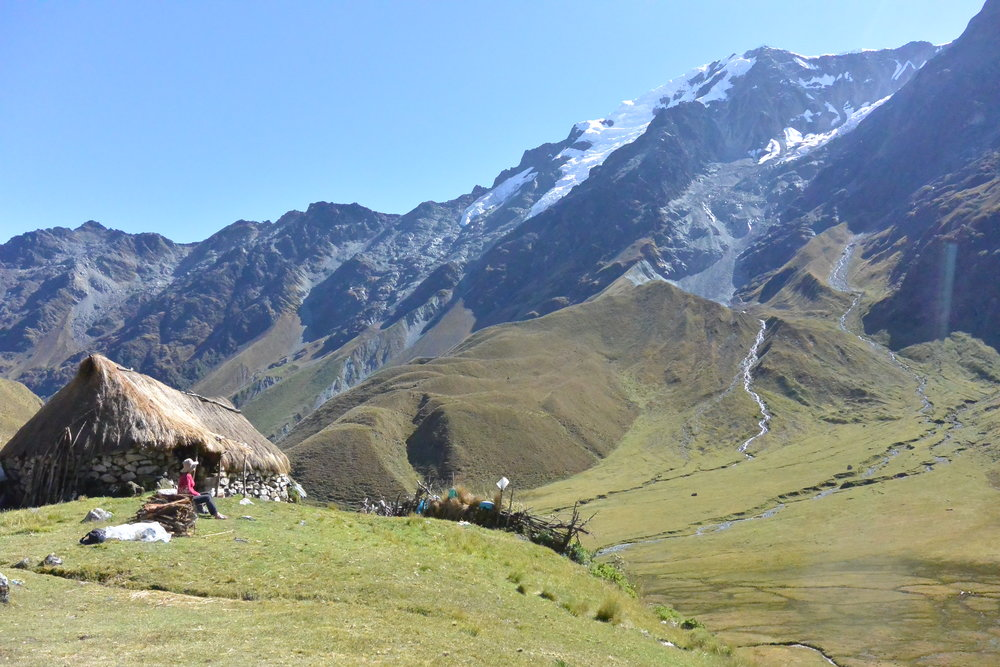 Day 2: Palqaycasa (4,200m) - Nestled at the very foot of Salkantay in the high Ahobamba valley is Doña Lucillas rustic home of rock and thatch. Here we have a dining cabin and will camp out among a spectacular ring of snow covered peaks.