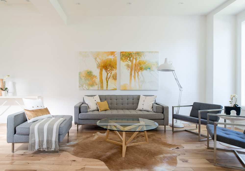 renovated home staging - living room