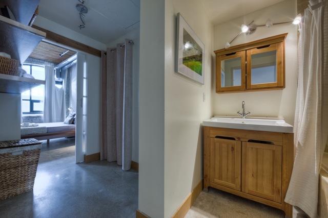 Occupied condo staging bathroom