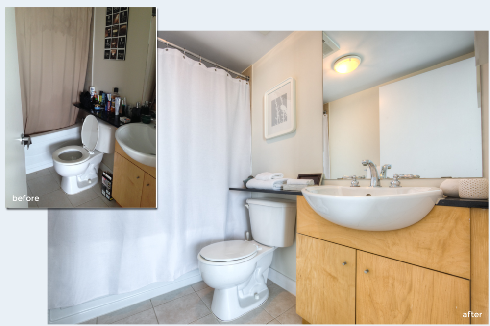 Condo staging before-and-after | bathroom