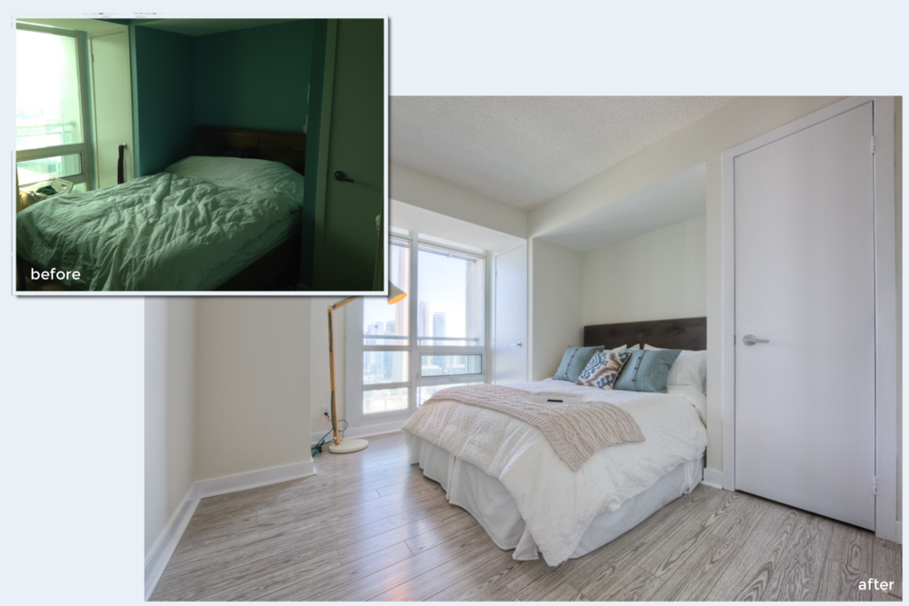 Condo staging before-and-after | Bedroom