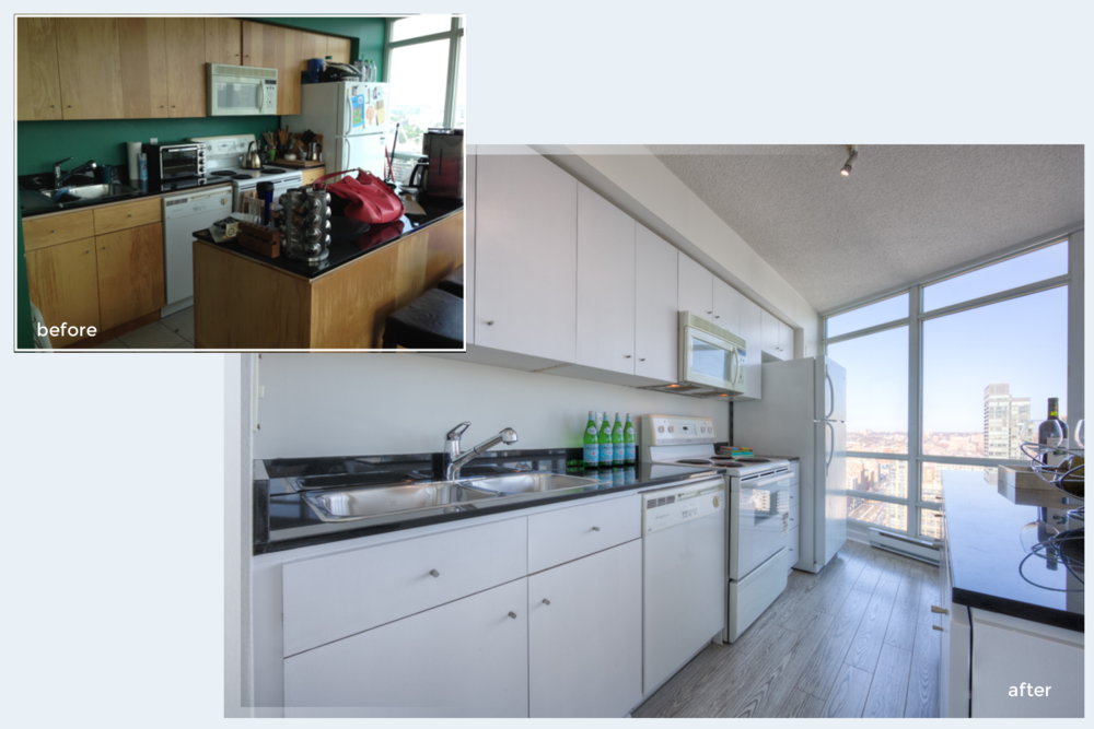 Condo staging before-and-after | kitchen